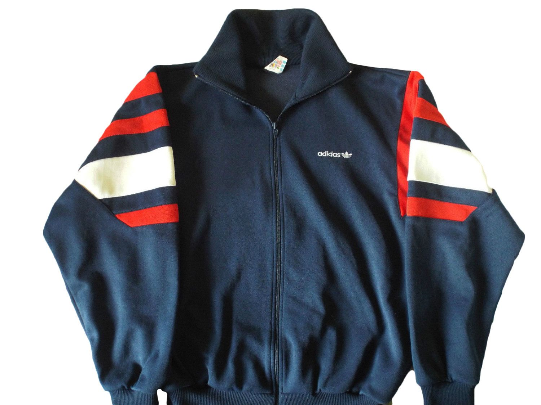 b1245e9ecafe Vintage 90s Adidas Trefoil Tracksuit Top jacket Color Block Navy Blue white Red  Size XL by VapeoVintage on Etsy