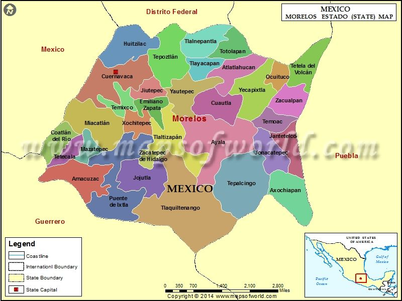 Find the list of all the administrative division of Morelos