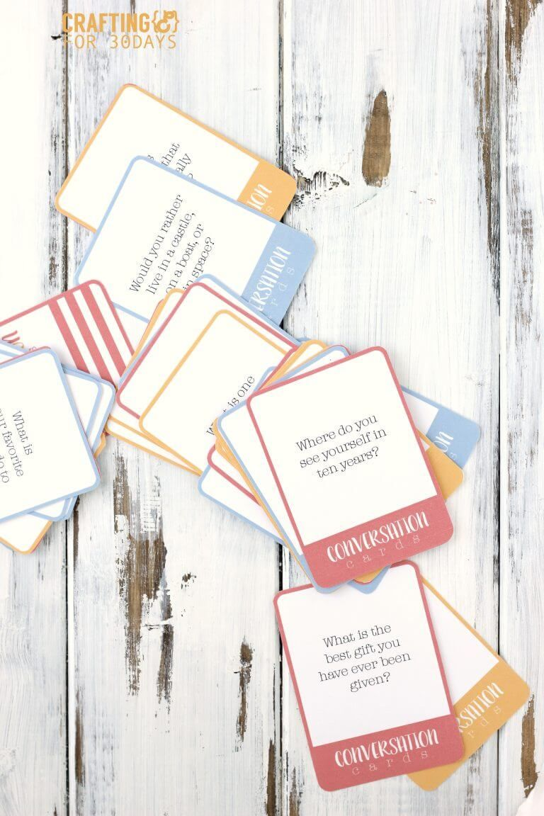 Use these printables to create a fun conversation questions game.