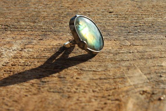 Labradorite stone ring Big large, yellow, orange, blue violet shiny, statement ring, gemstone Engagement ring, coctail ring, adjustable ring