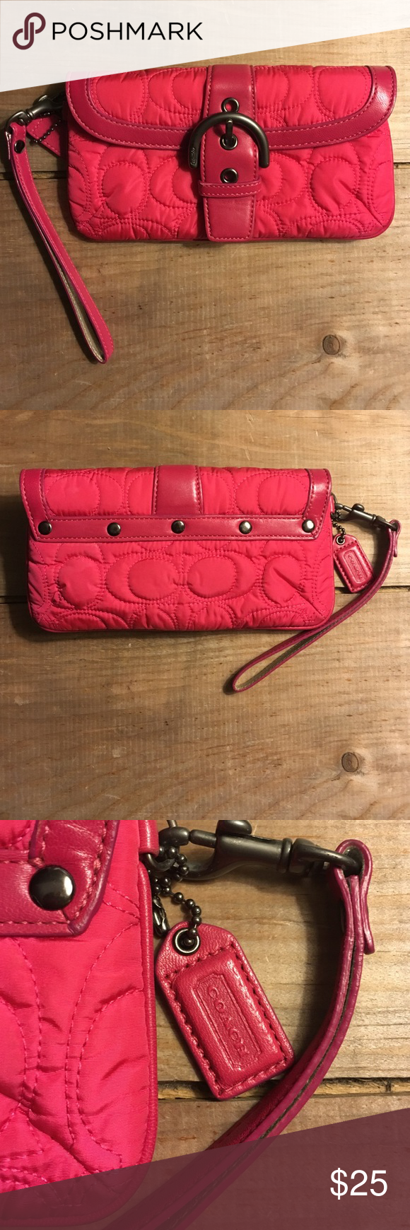 Pink COACH wristlet I love this thing! I've used it a few times but most of the time it just sits in my closet. No cosmetic flaws! Like new! Coach Bags Clutches & Wristlets
