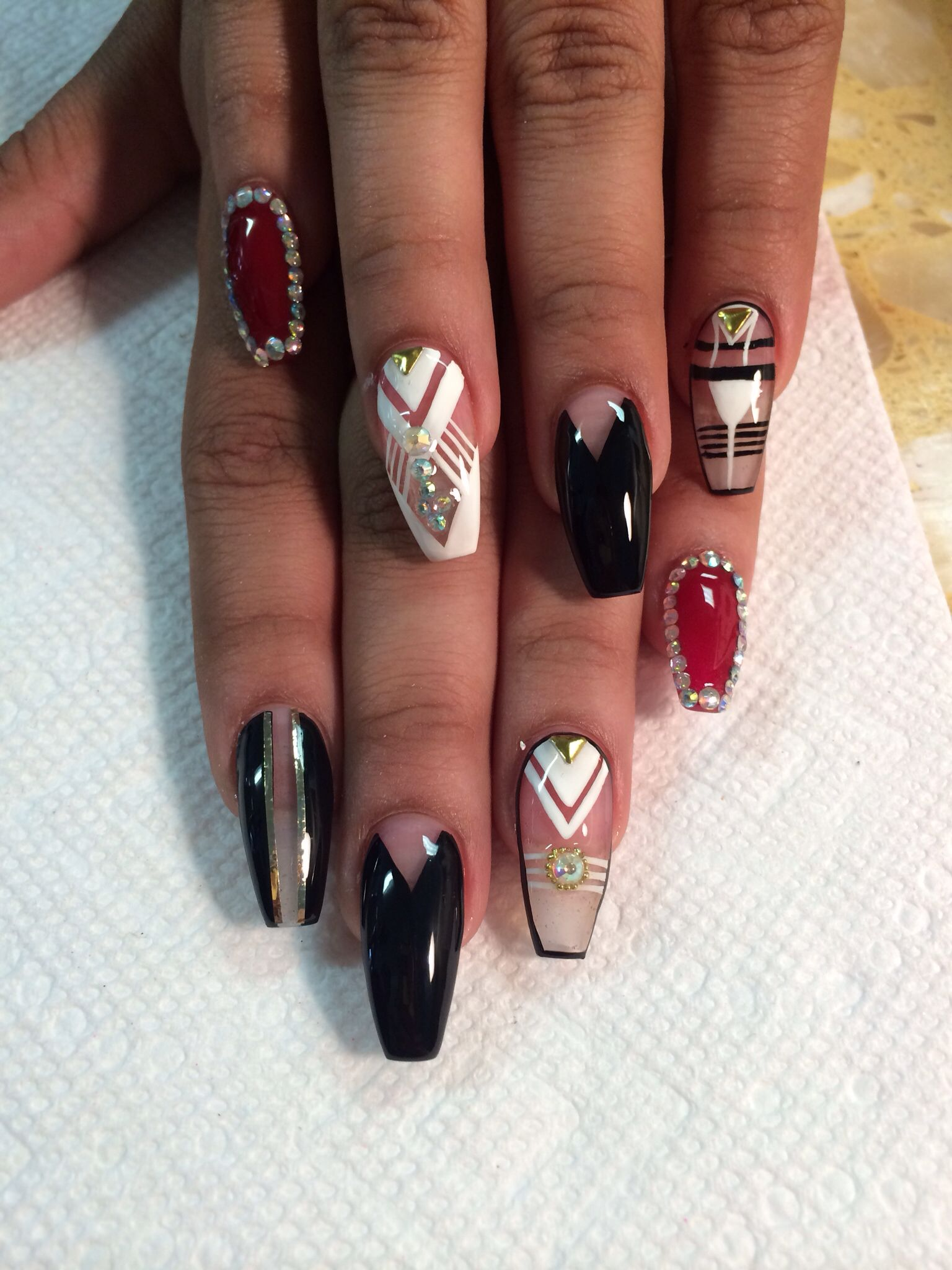 Coffin shape nails with designs u nails u pinterest coffin