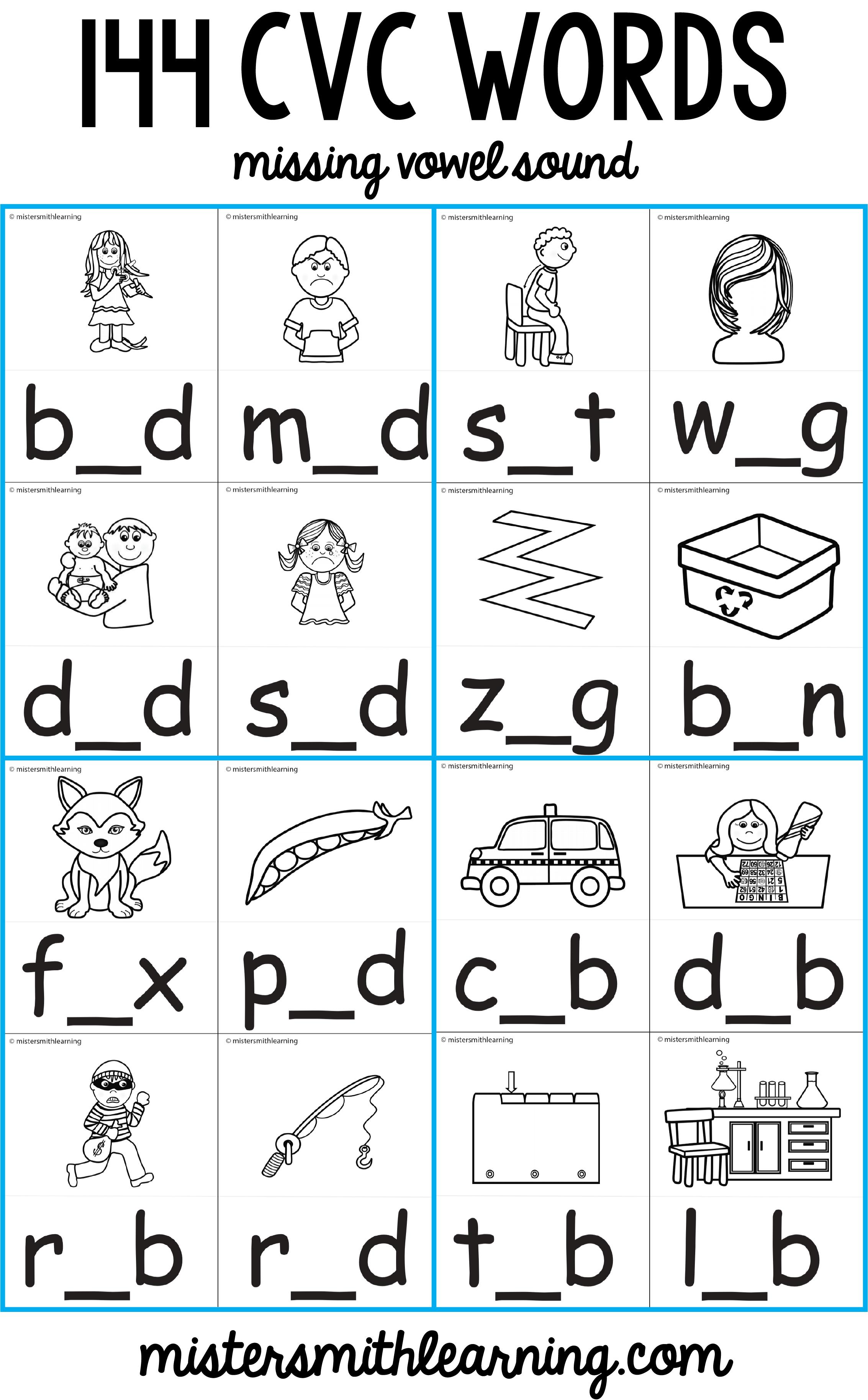 Middle Vowel Sound Write It 144 Cvc Words