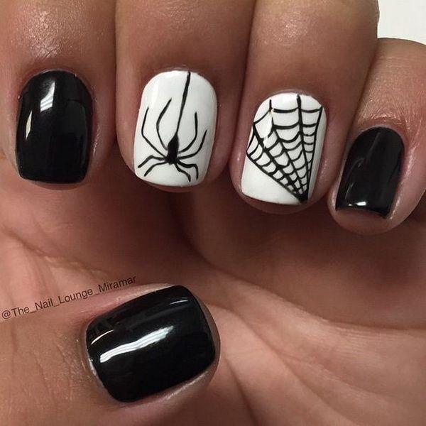 Black And White Spider And Web Nail Art Unas De Gel Manicura De Unas Unas Faciles