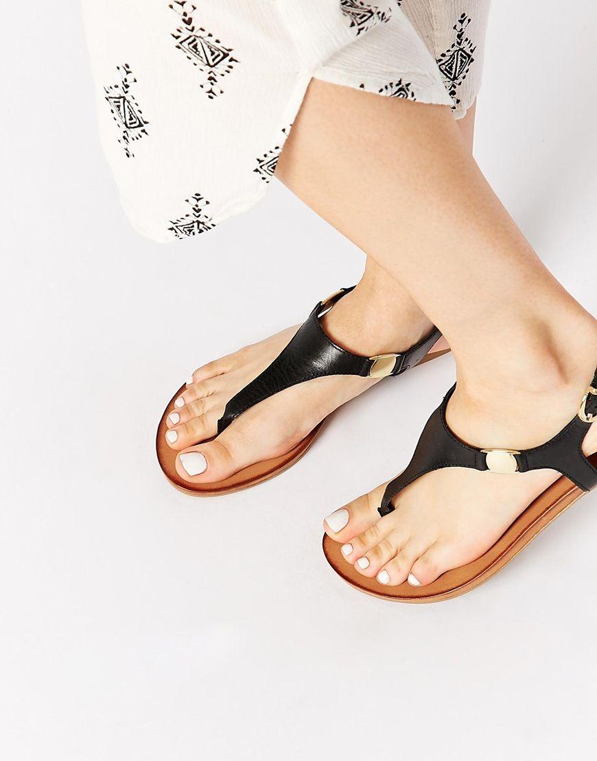 b989c4f8f Image 1 of ALDO Bellia Black Leather Thong Flat Sandals Aldo Sandals