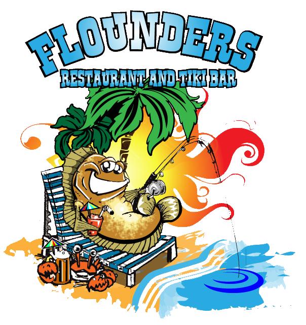 Flounders Restaurant and Tiki Bar Logo   Englewood beach ...