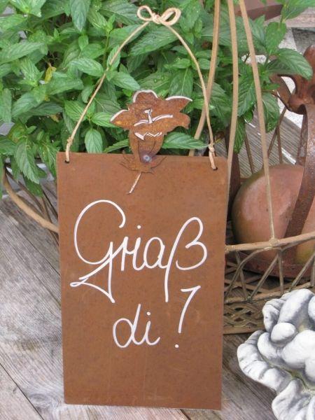 Vorsicht vor der Frau-39x25cm Schild Garten Edelrost Tafel gewellt mit Spruch