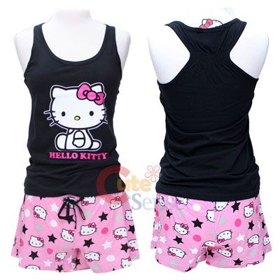 76f371add cute tank tops pj's for women | Sanrio Hello kitty PJ Black Tank Top and  Pink Short Pants - S at .