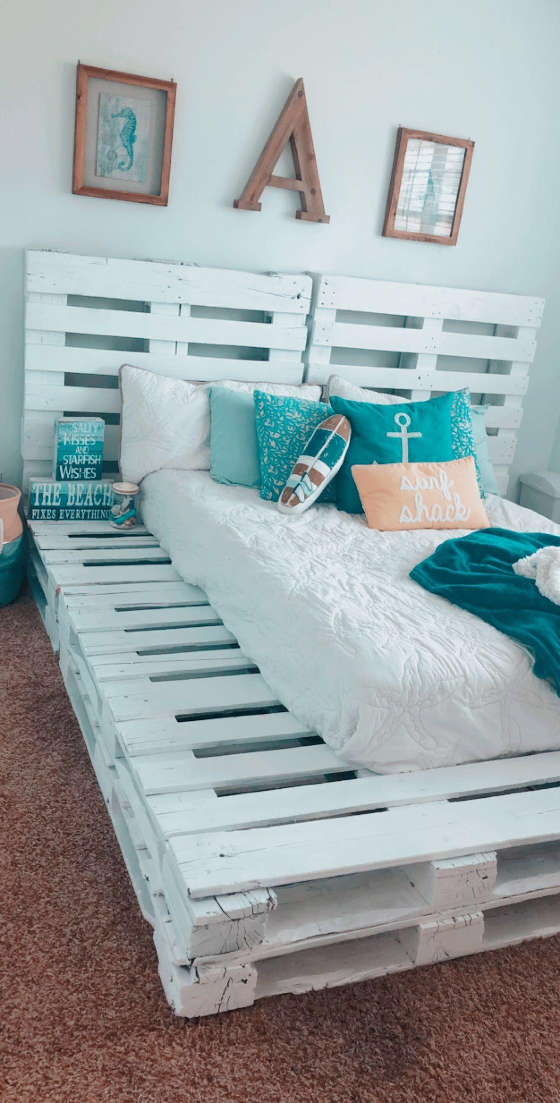 Pallet Bed Furniture Bedroom Frames Beach Decor