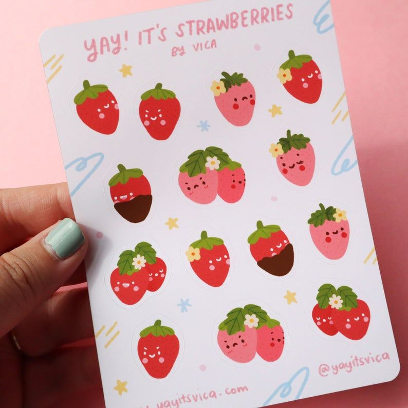 Strawberry Sticker Sheet - Kawaii Stickers - Cute Stationery - Journal Stickers - Strawberry Stickers  - Cute Stickers - Cute Sticker Sheet