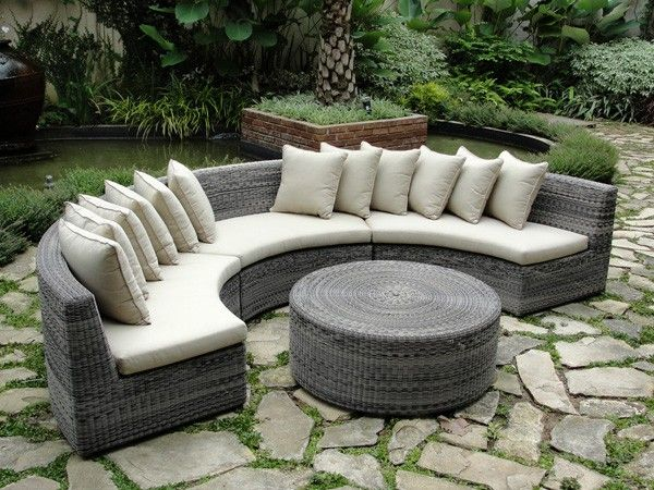 All Weather Wicker Rounded Sectional Rattan Curved Garden Sofas Weatherproof Semi Circlular Outdoor