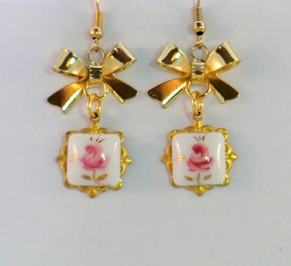 Pink And Gold Flower Vintage Cameo Earrings Antique With