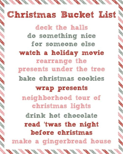 Christmas bucket list | Bucket list | Pinterest | Подарки, Ведра и ...