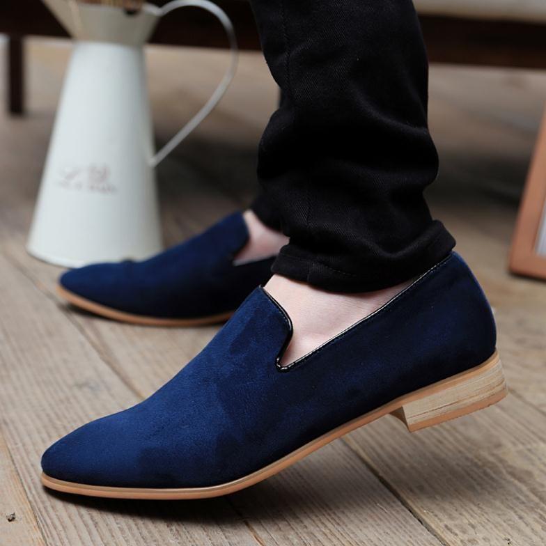 Nuevo 2015 hombres Flats moda punta estrecha hombres velvet