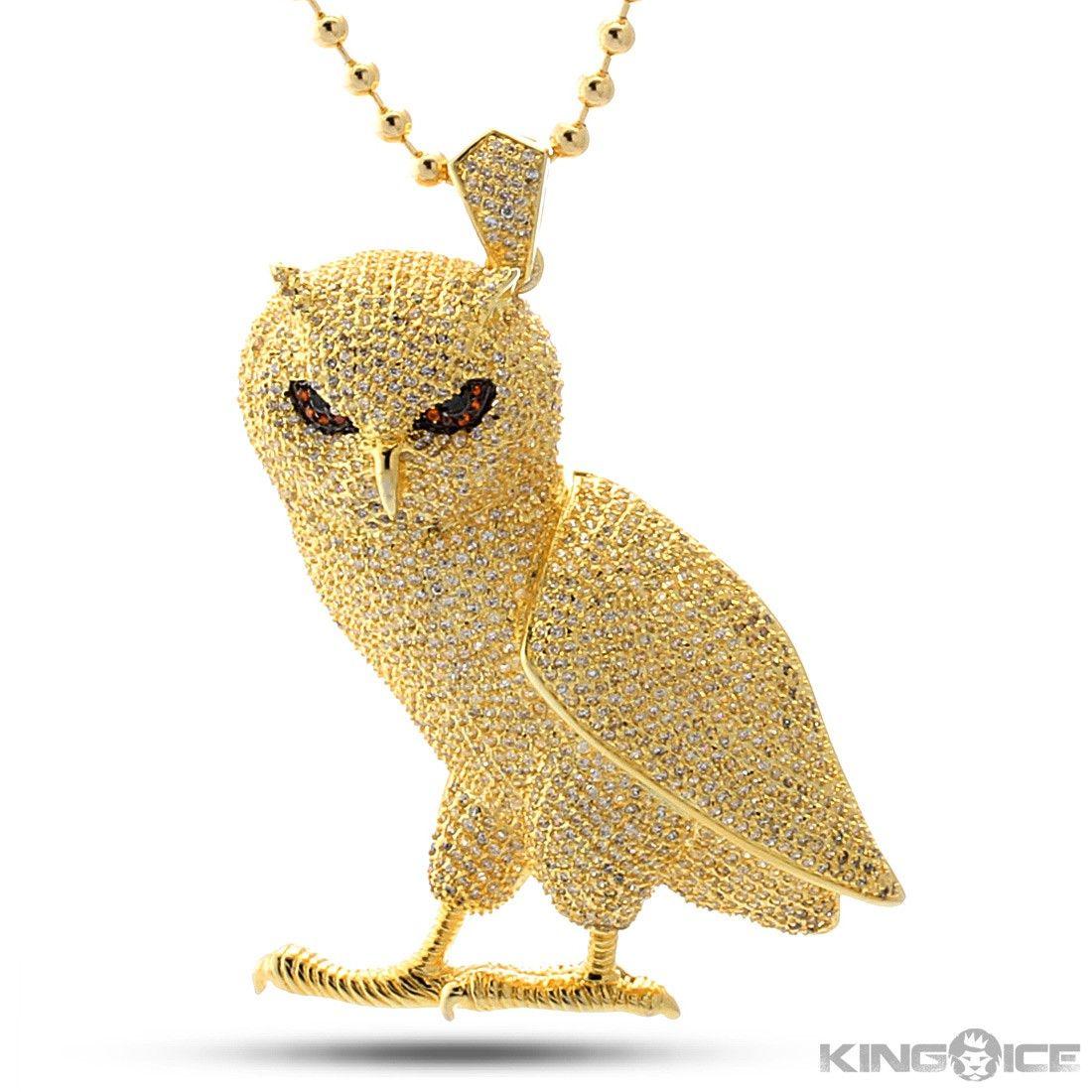 King Ice Gold Cz Owl Pendant  Hip Hop Ovo Jewelry  Urban Style