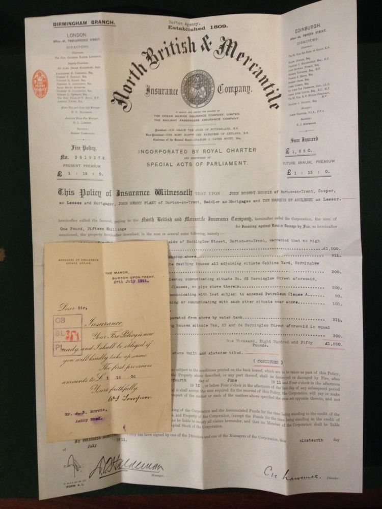 1911 FIRE POLICY NORTH BRITISH & MERCANTILE INSURANCE CO