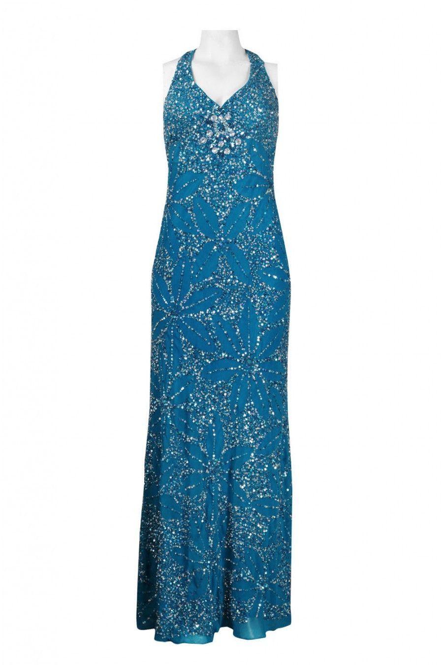 Adrianna Papell Halter Neck Beaded Floral Pattern Chiffon Dress