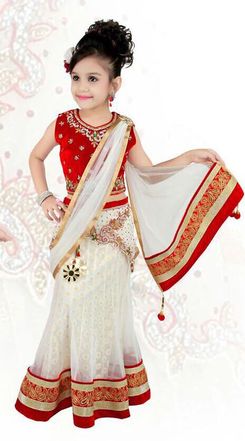 Exclusive White Net Designer Readymade Kids Lehenga Saree