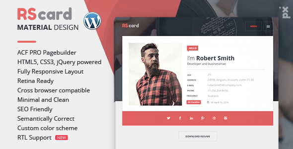 Wordpress Resume Theme Resume Cv & Vcard Theme Rscard  Material Design Resumecv .