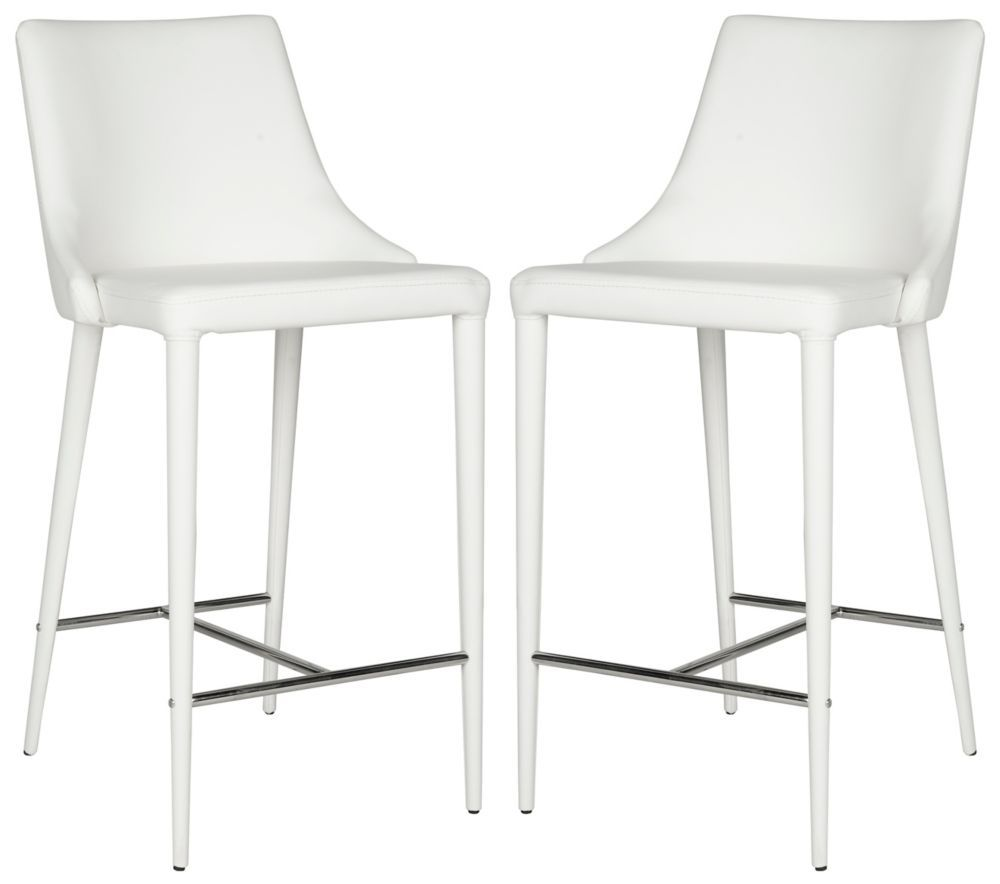 Summerset 37 4 In White Chrome Counter Stool Set Of 2 In 2020