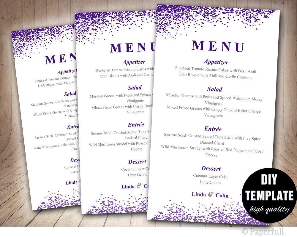 Wedding Menu Card Template Diy Wedding Menu Template Aubergine Wedding Instant Download Purple Wed Menu Card Template Diy Wedding Menu Wedding Menu Template