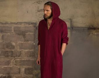 Men's olive hooded linen caftan, Linen tunic, Linen hooded caftan, Linen robe, Linen homewear, mens tunic, Linen Beach wear #linentunic