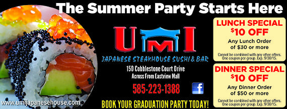 Umi Japanese Steakhouse Coupons For Sushi And Bar Specials Hibachi Grill And Hand Rolled Sushi Cobblestone Court Sushi Bar Japanese Steakhouse Lunch Specials