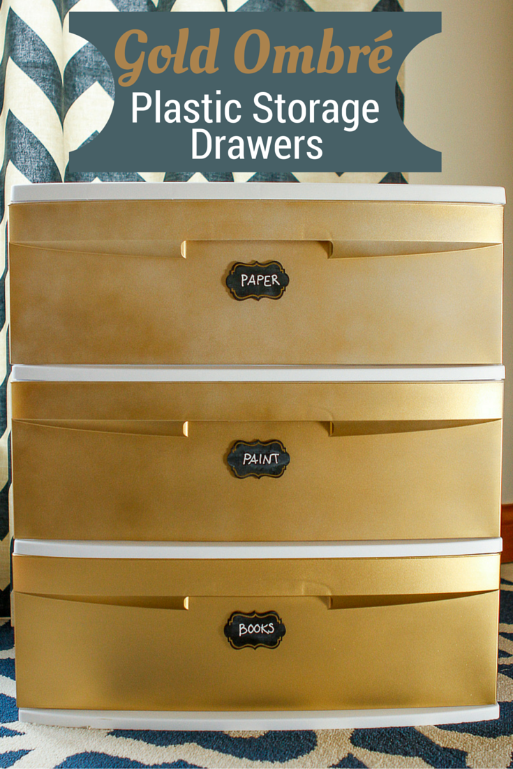 Decorate Plastic Storage Drawers Transform A Basic Plastic Storage Cart With Gold Ombre Spr Plastic Storage Drawers Plastic Drawers Decorate Plastic Drawers