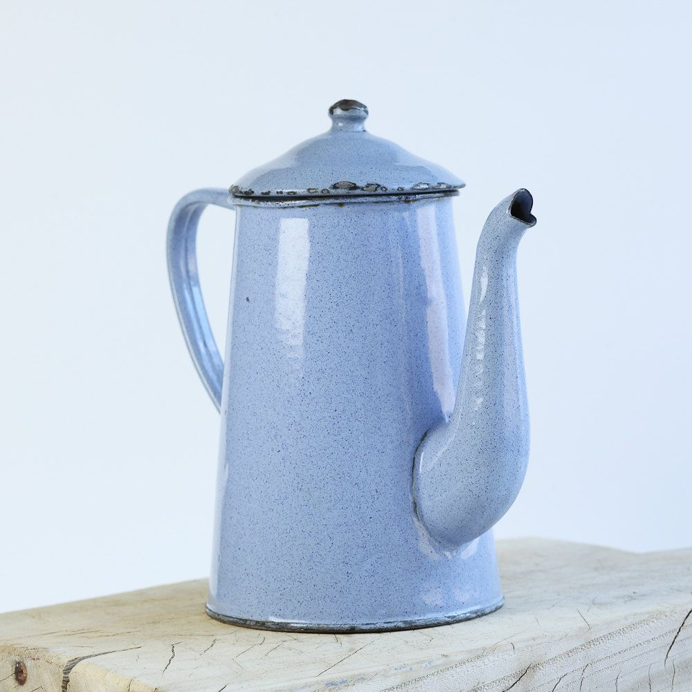 French blue vintage enamel coffee pot Vase French Cuisine French Coffee Home Decor