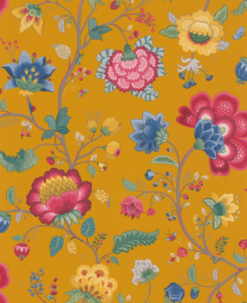 Floral Fantasy Mustard Yellow Wallpaper By Pip Wallpaper Mustard