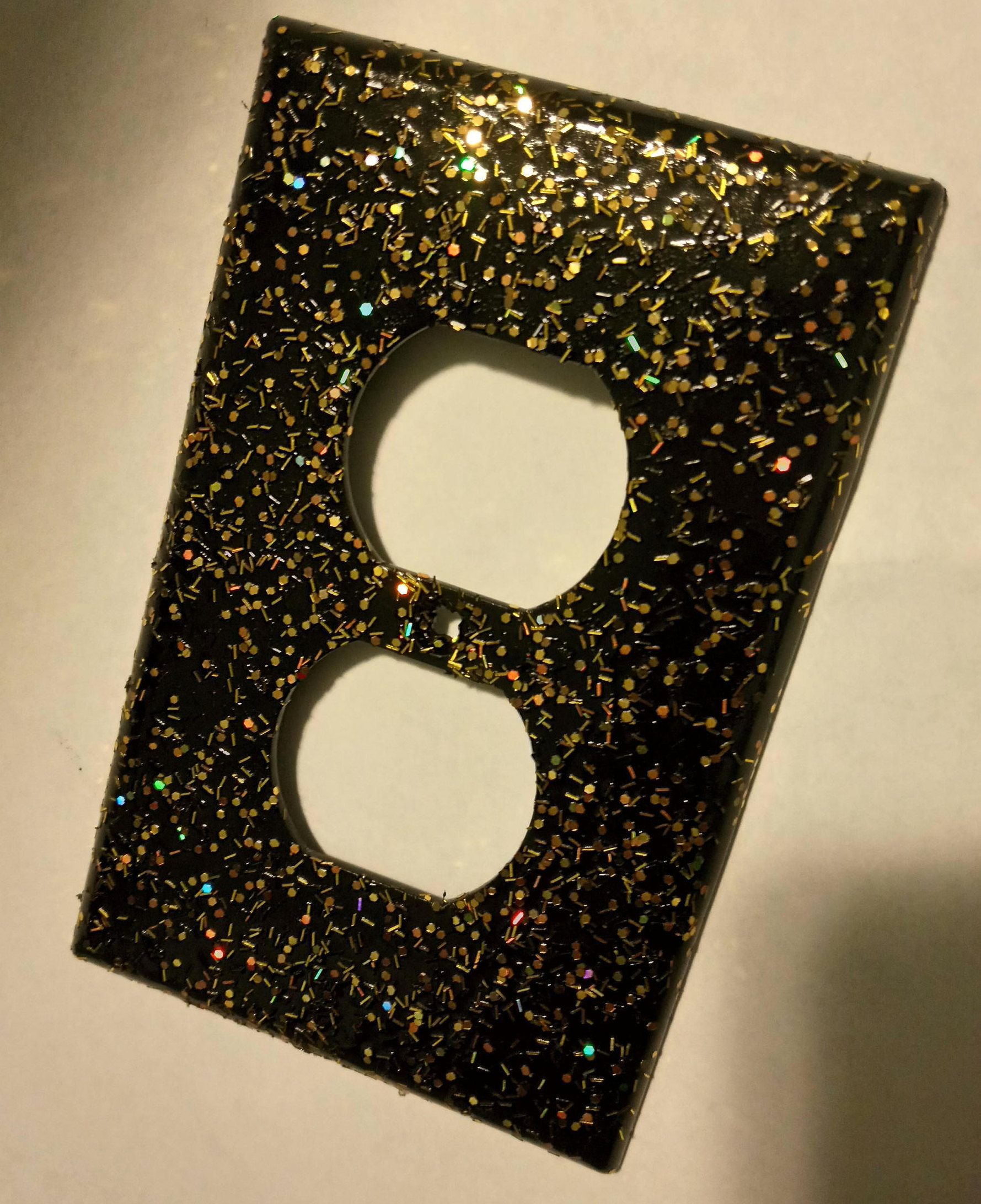 Gold Outlet Covers Glossy Black With Sparkly Holographic Gold Confetti Glitter