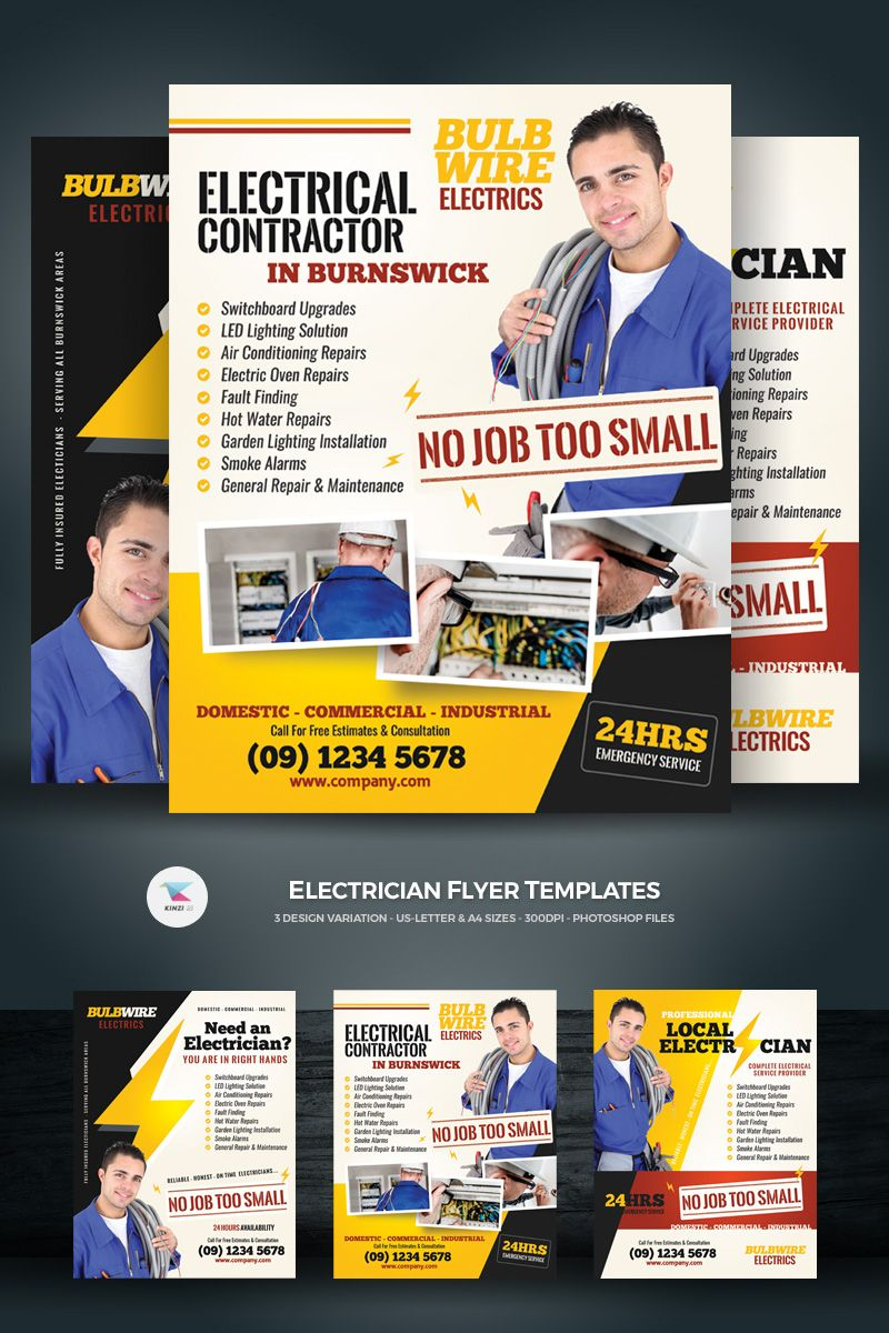 Electrician Flyers Corporate Identity Template 71791