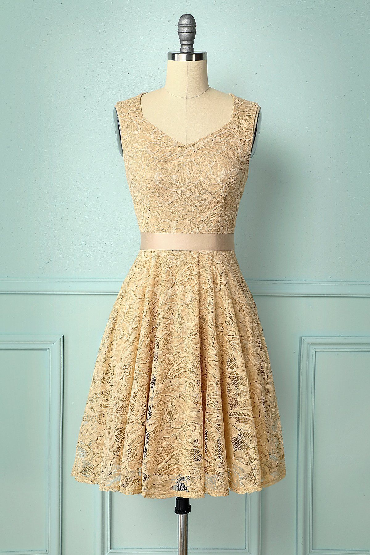 Champagne V Neck Lace Lace Dress Vintage Short Gold Bridesmaid Dresses Lace Dress With Sleeves [ 1800 x 1200 Pixel ]