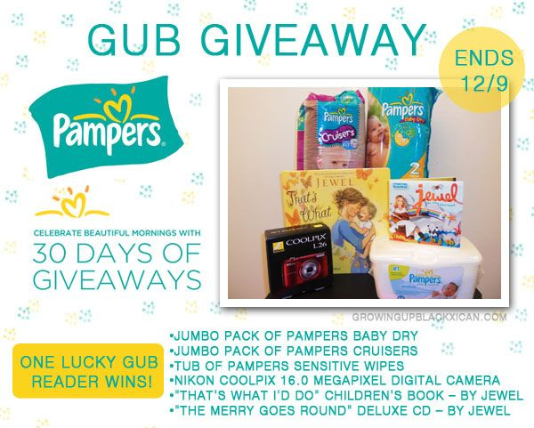 PAMPERS 30 DAYS OF GIVEAWAYS by Growing Up Blackxican    http://www.growingupblackxican.com/2012/12/theres-still-time-for-pampers-30-days.html