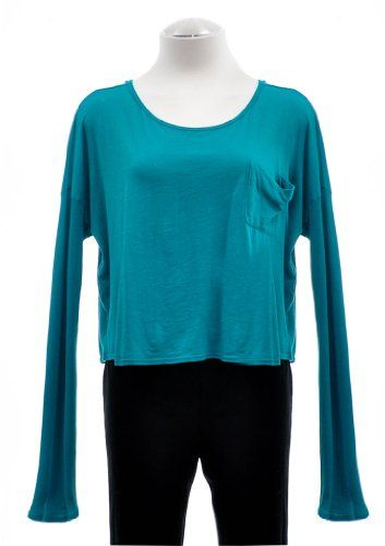 Ella Moss Jade Avery Crew Neck Cropped Long Sleeve Pocket Tee Large $39.99