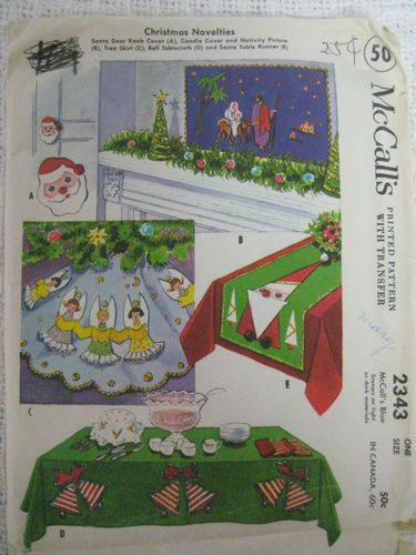 Vintage 50s Mccalls 2343 Christmas Sewing Pattern Tablecloth Tree