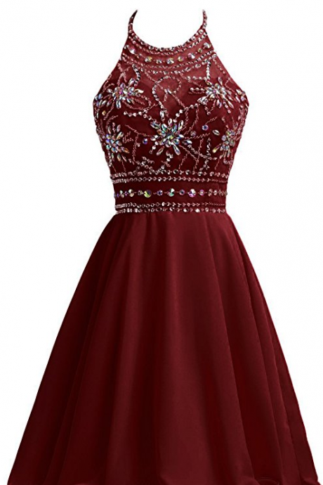 Burgundy Chiffon Homecoming Dresses For Juniors Halter Prom Party Ball Gowns a743de8aec8f