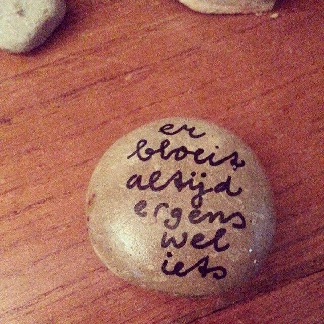 Ik heb deze steen een keer gevonden op het Rutbeek. Met die boodschap er op. Ik zat toen net in een dipje! Was heel bijzonder. Mijn idee is om stenen te gaan versieren  met dit soort quotes en dan samen met de clienten op het terrein te verspreiden! Zodat andere mensen een fijne boodschap vinden