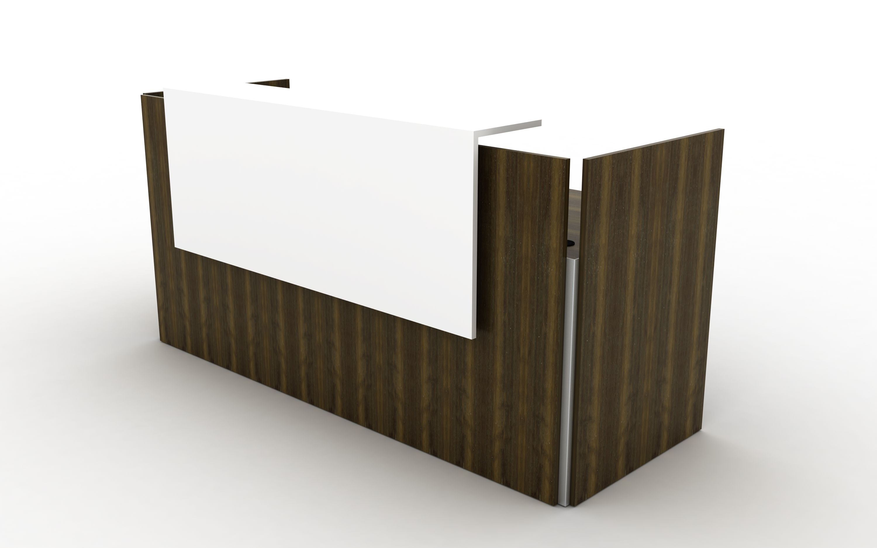 Home gt reception desks gt 8 curved maple glass top reception desk - Fumed Eucalyptus Reception Desk With Solid Surface Counter Panel Wrap And Vertical Metal Reveal Front