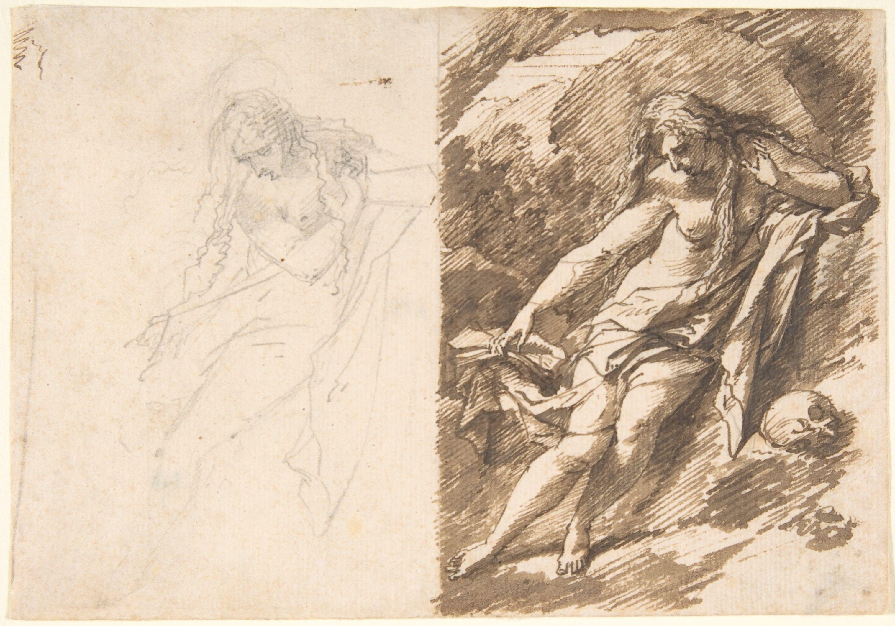 """The Penitent Magdalene"" Artist: Adriaen van der Werff (Dutch, Kralinger-Ambacht 1659–1722 Rotterdam) Date: n.d. Medium: Pen and brown ink Dimensions: sheet: 4 1/2 x 6 5/16 in. (11.5 x 16 cm) Classification: Drawings"