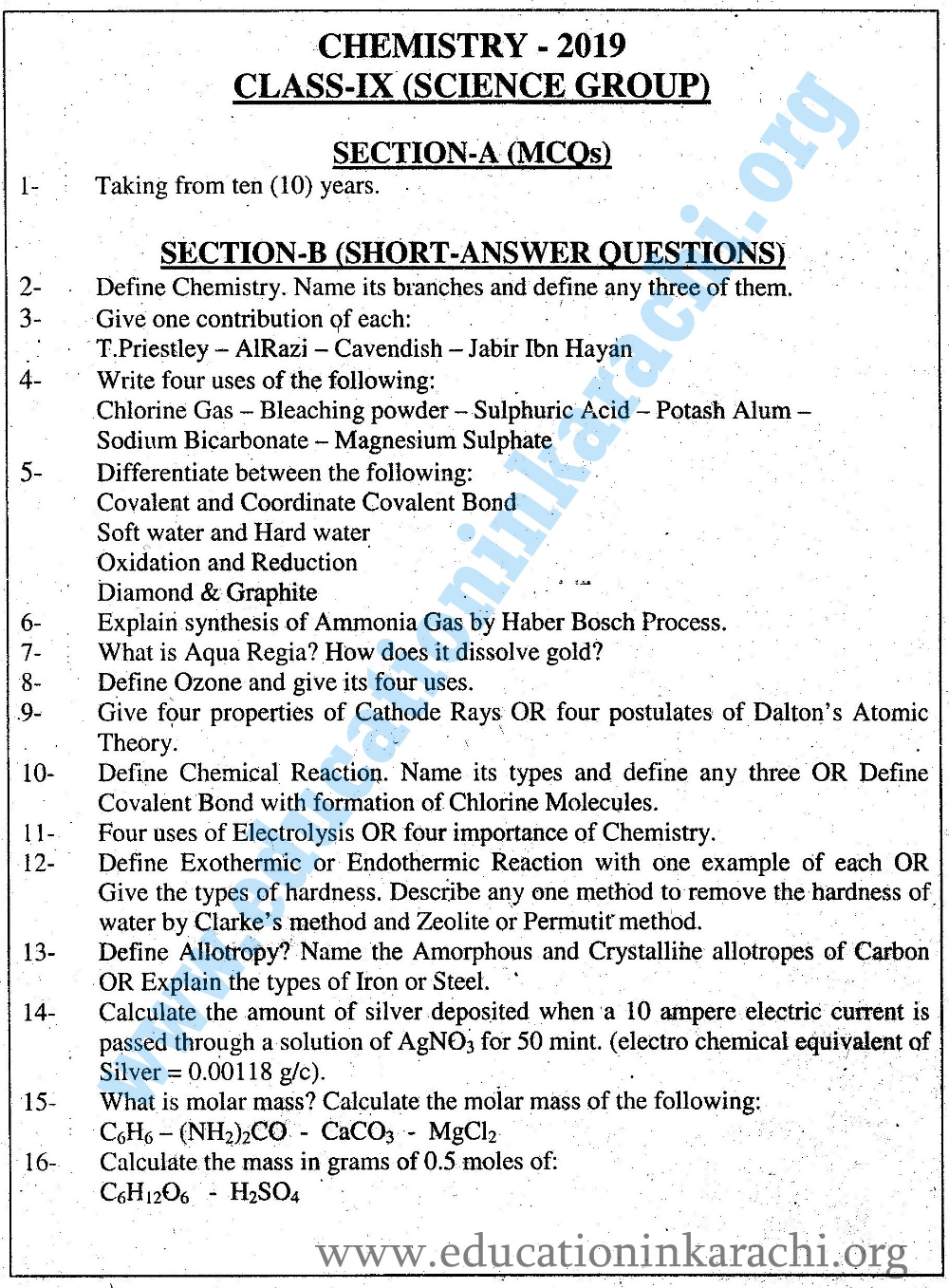 Chemistry Past Papers 9th Class 2019 Google Search Chemistry