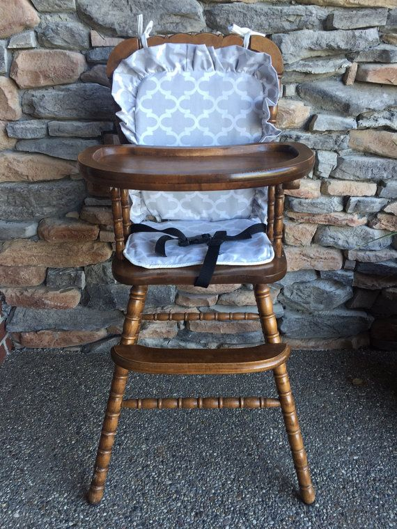 Wooden Highchair Cover French Gray Ruffle by
