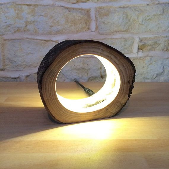 Small Led Log Light Table Lamp Desk Light Real Wooden Log Hollow Unusual Bedside Office Natural Repurposed Upcycled Wood Wooden Log Wood Lamps Floor Lamp