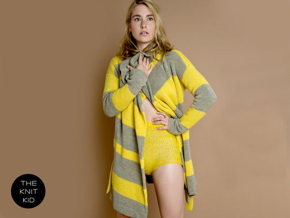 yellow greige beige grey knit sweater jacket coat by THEKNITKID, €680.00