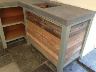 Polished Concrete Worktop Kitchen Cornwall Countertop Grey Chunky Thick Reclaimed Panels Timber Bespoke Unit Freestanding