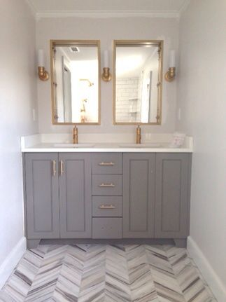 Master Bath White Cabinets Gold Hardware