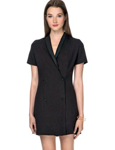 Black Vest Dress - Little Black Dress - Office Dress - $69