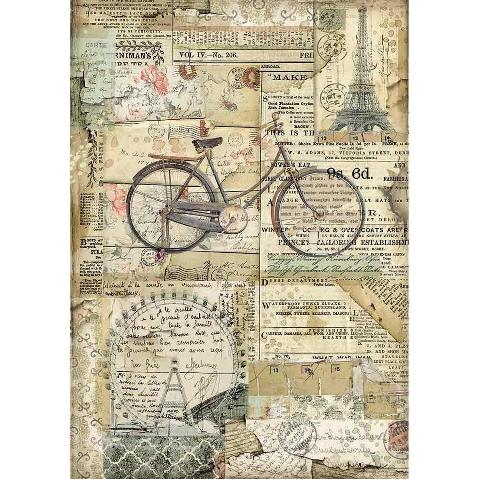 Stamperia Rice Paper Decoupage Paper Collage Paper Dfsa4458 Bicycle In 2020 Decoupage Paper Printable Decoupage Paper Vintage Paper Printable
