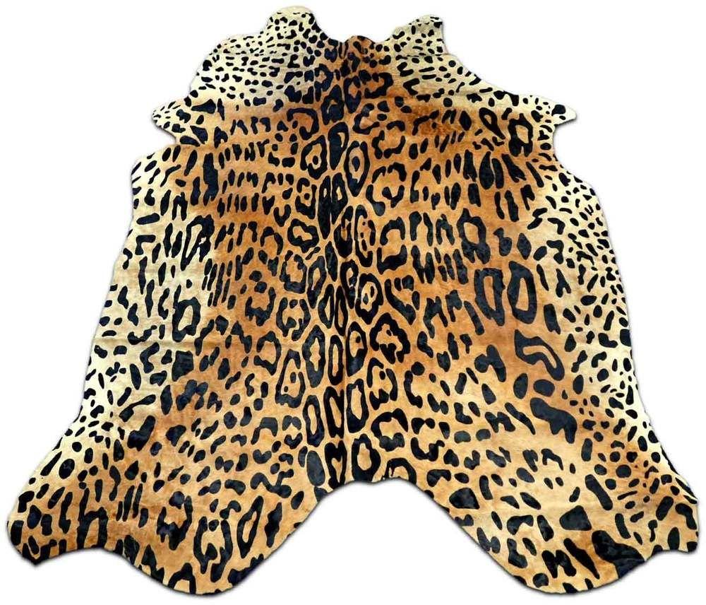 Jaguar On Beige Cowhide Rug Size 7 X 5 Leopard Print Skin Ebay