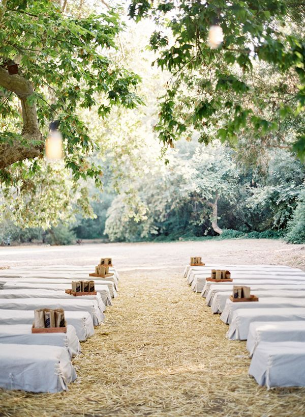 Wedding In Woods With Hay Bales As Seats Rustic Outdoor Bale Ceremony